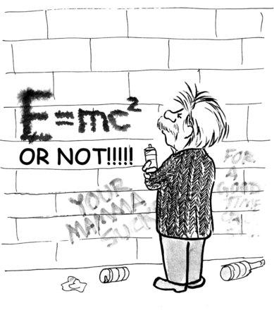 einstein: Cartoon of Einstein making graffiti of famous E = mc squared equation. Stock Photo
