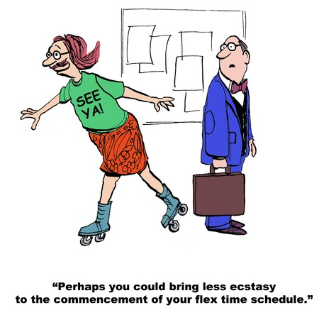 life balance: Cartoon of businessman very excited that he is beginning a flex time schedule.
