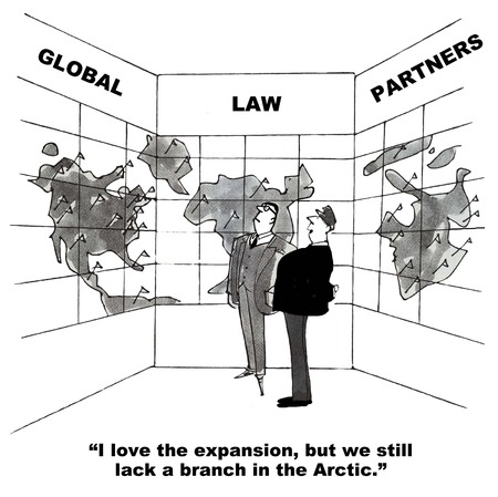 law office: Cartoon of lawyers looking at global map, they love the expansion but lack a branch in the arctic.