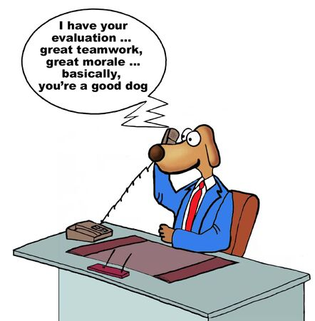 morale: Cartoon of businessman dog receiving excellent performance review, he is a good dog. Stock Photo