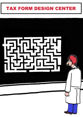 Cartoon of government worker looking at huge maze in the tax form design center. Archivio Fotografico
