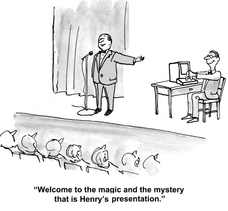 gag: Cartoon of the magic and mystery of Henrys presentation. Stock Photo