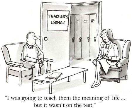 Caricatura de maestros hablen a enseñar a los estudiantes el sentido de la vida ... pero, no fue en la prueba. Foto de archivo - 36657614