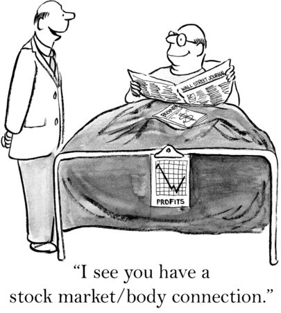 Cartoon of man in hospital, he has a stock marketbody connection.