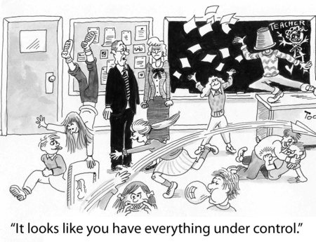 Cartoon of complete chaos in teachers classroom, principal says everything is under control 写真素材