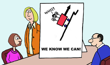 tough woman: Cartoon of confident team members facing challenging, uphill problem, we know we can.