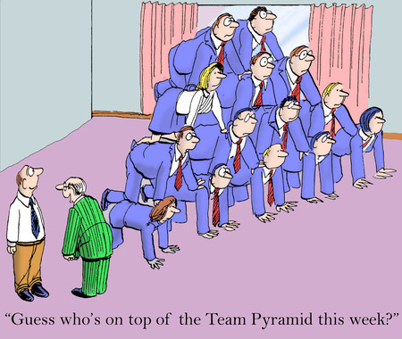teamwork cartoon: Cartoon of business team leader saying to team member he is on top of this weeks team pyramid. Stock Photo