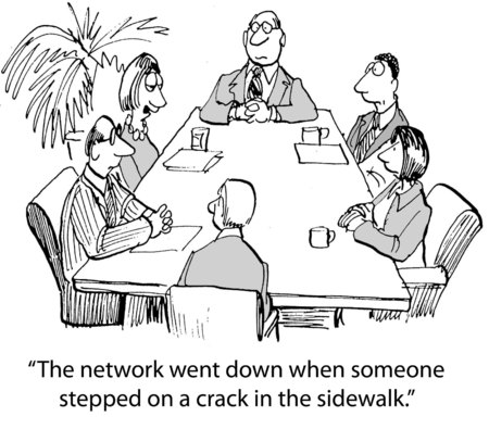 stopped: Cartoon of businesswoman saying the network is very fragile, went down someone stepped on sidewalk crack.