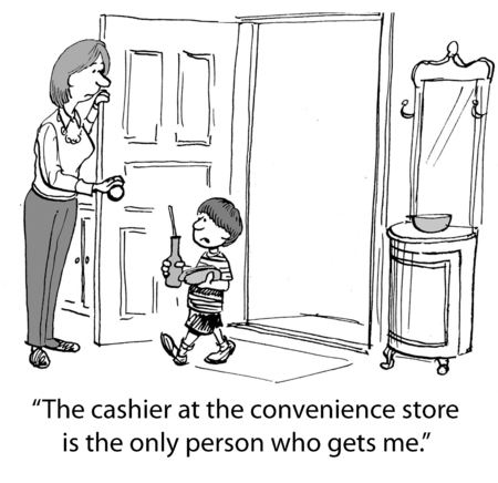 understands: Cartoon of young boy saying to mom that only the convenience store cashier understands him. Stock Photo