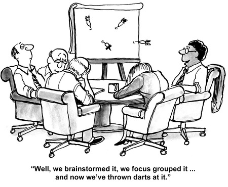 qualitative: Carton of business team trying to solve a difficult problem.
