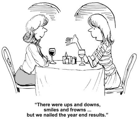 fin d annee: Cartoon d'affaires parler de leur succ�s avec des r�sultats de fin d'ann�e. Banque d'images