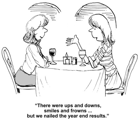 end of year: Cartoon of businesswoman talking about their success with year end results. Stock Photo