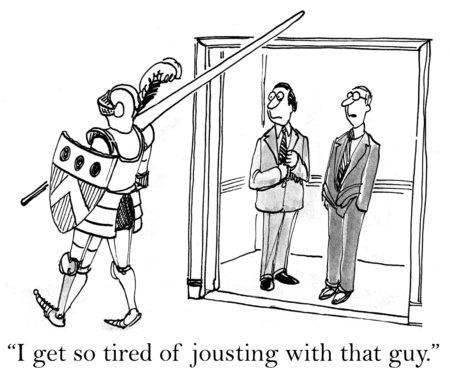騎士の鎧の男の漫画の実業家によると、あの男と馬上槍試合のすごく疲れます。