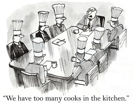 Cartoon van de zakelijke bijeenkomst, kunnen we te veel koks in de keuken. Stockfoto