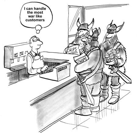 customer: Cartoon of businessman thinking he can provide good customer service to everyone, including war like Vikings. Stock Photo