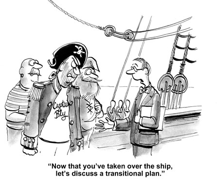 transition: Cartoon of businessman discussing transition plan with pirate.