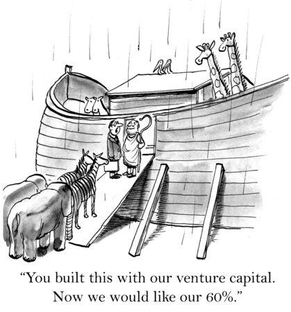 Cartoon of venture capitalist saying to Noah he wants his 60% return.