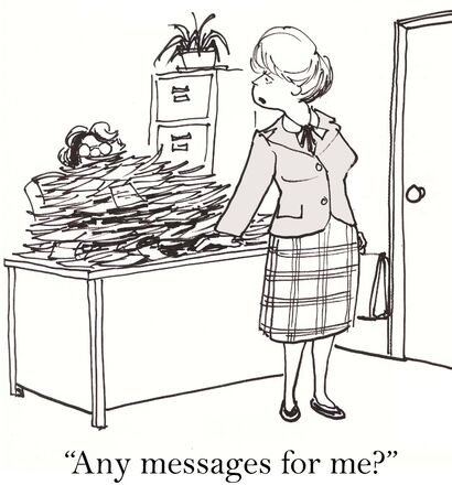 gag: Cartoon of executive assistant with many messages for businesswoman boss. Stock Photo