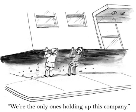 allegiance: Cartoon of two businessmen holding the company up. Stock Photo