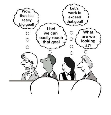 metas: Caricatura de equipo de negocios pensando probabilidad de alcanzar el a�o Foto de archivo