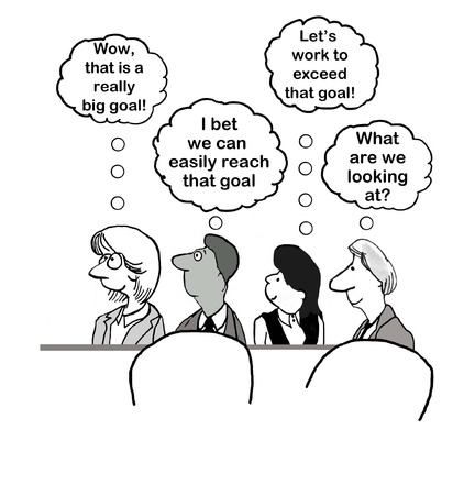 business meeting: Cartoon of business team thinking about likelihood of achieving the year