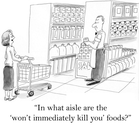 non vegetarian: Cartoon of woman in grocery store looking for the foods that will not kill you.
