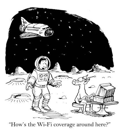 Cartoon of space man asking alien how the wifi coverage is.