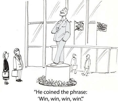 coined: Cartoon of businesspeople looking at statue of man who coined phrase, win, win, win, win.