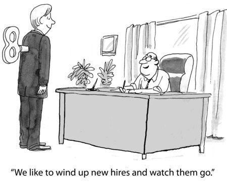 Cartoon of businessman with wind up key, we like to wind up new hires and watch them go. Stock Photo