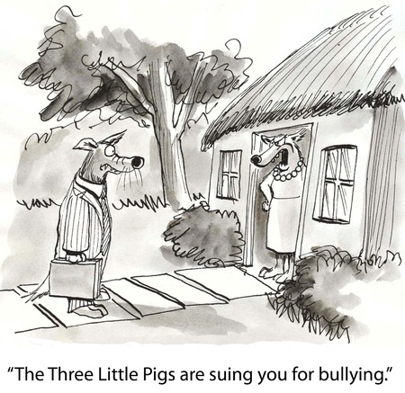 Cartoon of wolf being sued for bullying by three little pigs.
