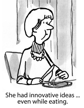 innovative: Cartoon of businesswoman, she had innovative ideas... even while eating.