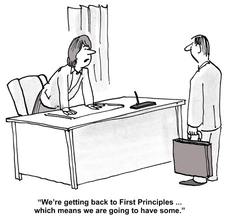 principles: Cartoon of businesswoman leader saying to businessman that we are going to get some First Principles. Stock Photo