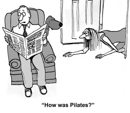 Cartoon of exhausted woman and husband asks, how was Pilates.