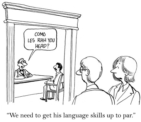insulting: Cartoon of businessman who is not good at speaking Spanish.