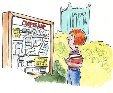 地図を見て失われた大学生の漫画。 写真素材
