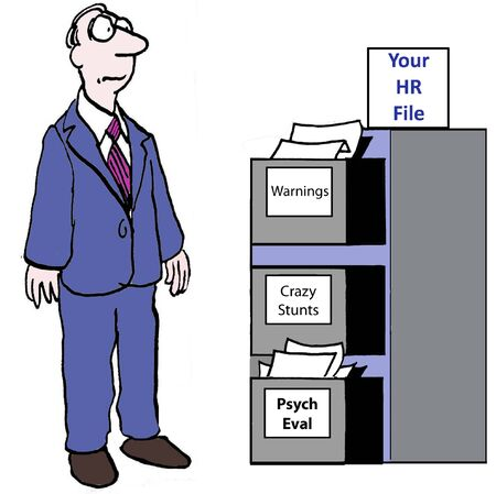 psych: Cartoon of businessman who has discovered he has an HR file. Stock Photo
