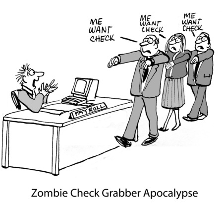 grabber: Cartoon of business people wanting their paychecks.