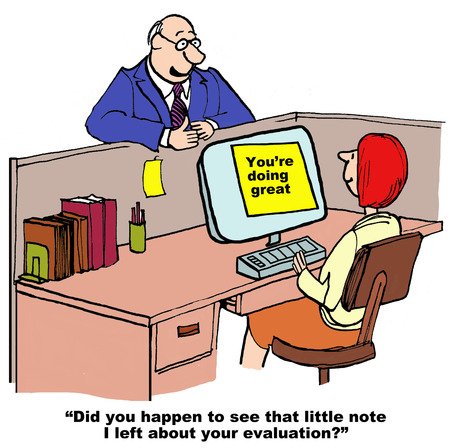 telling: Cartoon of businessman boss telling assistant her work is great.