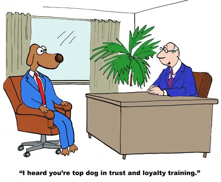 obey: Cartoon of businessman dog, he is top dog on trust and loyalty training. Stock Photo