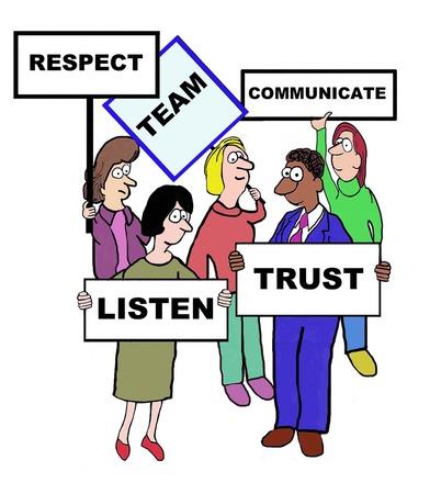 Cartoon of businesspeople defining the characteristics of a team: respect, communicate, trust, listen.