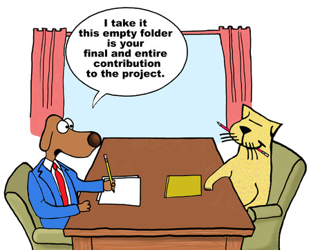 Cartoon of business dog project manager talking with poor project contributor.