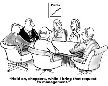 Cartoon of real time customer input to business management.