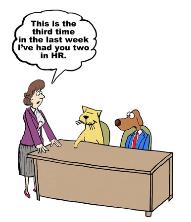 Cartoon on conflict management, the business cat and dog have been sent to HR. Stock Photo