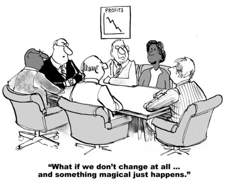 hombres ejecutivos: De dibujos animados sobre la resistencia al cambio ... espero algo mágico va a suceder. Foto de archivo