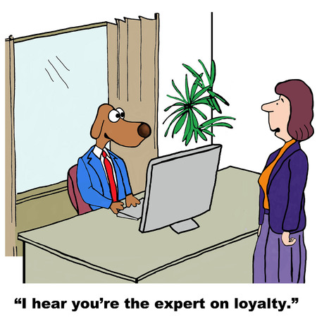 intent: Cartoon of businessman dog, he is the expert on loyalty.