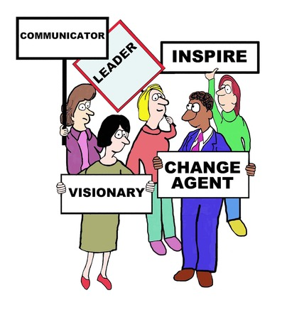 Cartoon of businesspeople defining the characteristics of a leader: communication, inspire, change agent, visionary.