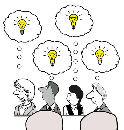 Cartoon of businesspeople with many new ideas.