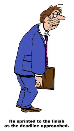 project deadline: Cartoon of tired businessman, he is sprinting to finish the project by the deadline. Stock Photo