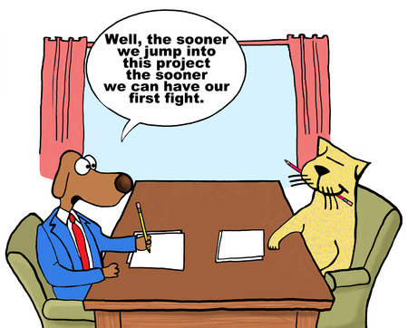 teammates: Cartoon on conflict management. Stock Photo