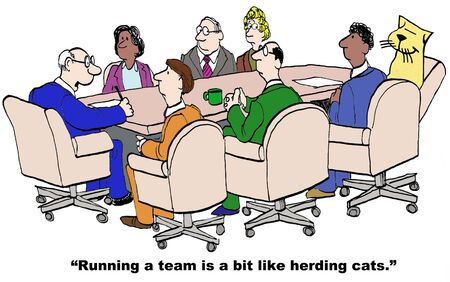 personalities: Cartoon of project manager, running a team is a bit like herding cats.